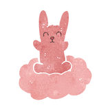 retro cartoon rabbit on cloud Royalty Free Stock Photo