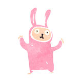 Retro cartoon rabbit costume Stock Images