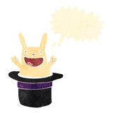 Retro cartoon rabbit in hat with speech bubble Royalty Free Stock Image