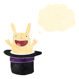Retro cartoon rabbit in hat with thought bubble Royalty Free Stock Image