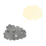 Retro cartoon raincloud with thought bubble Stock Photo