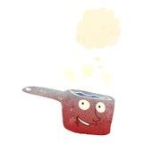 Retro cartoon red hot saucepan Royalty Free Stock Photo