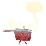 Retro cartoon red hot saucepan Stock Photo