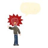 Retro cartoon red light bulb head man Royalty Free Stock Image