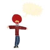Retro cartoon red light bulb head man Royalty Free Stock Images