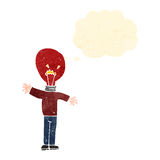 Retro cartoon red light bulb head man with thought bubble Stock Photography