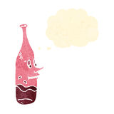 Retro cartoon red wine bottle with drunk expression Stock Images
