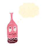 Retro cartoon red wine bottle with drunk expression Royalty Free Stock Photo