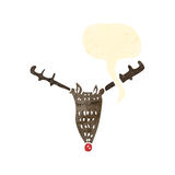 Retro cartoon reindeer head with speech bubble Stock Photography