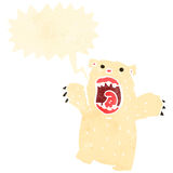 Retro cartoon roaring polar bear Stock Image