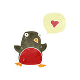 Retro cartoon robin with love heart Royalty Free Stock Photo