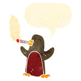 Retro cartoon robin smoking cigarette Stock Image