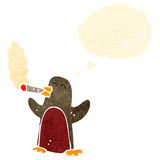 Retro cartoon robin smoking cigarette Royalty Free Stock Photo