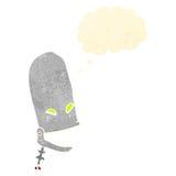 Retro cartoon robot head with thought bubble Royalty Free Stock Photos