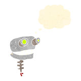 Retro cartoon robot head with thought bubble Royalty Free Stock Images