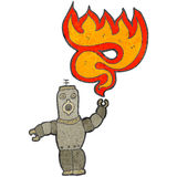 Retro cartoon robot shooting fire Stock Photos