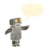 Retro cartoon robot with speech buble Royalty Free Stock Photography