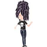 Retro cartoon rock girl Royalty Free Stock Photos