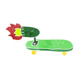 Retro cartoon rocket powered skateboard Royalty Free Stock Photo