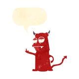 Retro cartoon rude little devil Stock Images