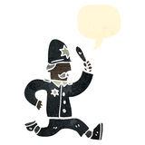 retro cartoon running british policeman Royalty Free Stock Image