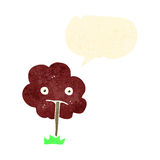 retro cartoon sad tree with speech bubble Stock Photos