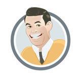 Retro cartoon salesman. In a badge vector illustration