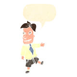 retro cartoon salesman with speech bubble Stock Photos