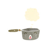 Retro cartoon saucepan with thought bubble Stock Photography