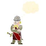 Retro cartoon saxon warrior Stock Images