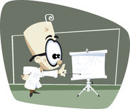 Retro Cartoon Science Professor. A retro cartoon illustration of a science professor pointing at a rool-up white board screen with some formulas stock illustration