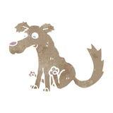 Retro cartoon scratching dog Stock Photo