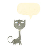 Retro cartoon scruffy cat with speech bubble Royalty Free Stock Photo