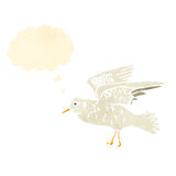 retro cartoon seagull,with thought bubble Royalty Free Stock Image