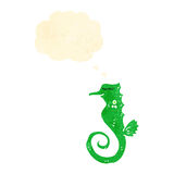 Retro cartoon seahorse Stock Image