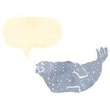 retro cartoon seal with speech bubble Royalty Free Stock Photo