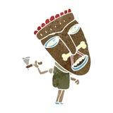 Retro cartoon shaman in big mask Stock Photo