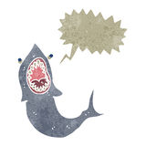 Retro cartoon shark with speech bubble Royalty Free Stock Photography