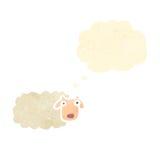 retro cartoon sheep with thought bubble Royalty Free Stock Photo