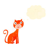 Retro cartoon shocked cat with thought bubble Stock Image