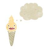 Retro cartoon shocked ice cream cone Royalty Free Stock Photo