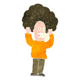 Retro cartoon shocked man with huge hair Royalty Free Stock Image