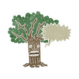 Retro cartoon shocked tree Stock Image