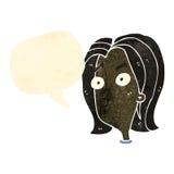Retro cartoon shocked woman with speech bubble Royalty Free Stock Photo