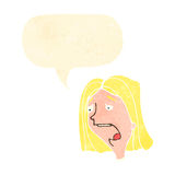 Retro cartoon shocked woman with speech bubble Stock Images