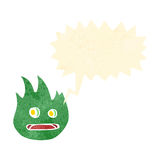 Retro cartoon shouting flame creature. Retro cartoon with texture. Isolated on White Royalty Free Stock Images