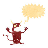 Retro cartoon shouting little devil. Retro cartoon with texture. Isolated on White Stock Photography