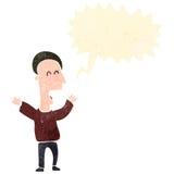 Retro cartoon shouting man. Retro cartoon with texture. Isolated on White Royalty Free Stock Photography