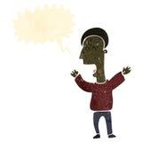 Retro cartoon shouting man. Retro cartoon with texture. Isolated on White Royalty Free Stock Images