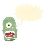 Retro cartoon shouting monster head. Retro cartoon with texture. Isolated on White Royalty Free Stock Photos